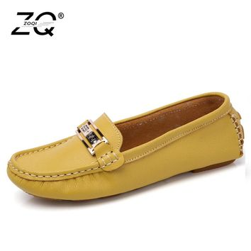 ZOQI Shoes Woman Genuine Leather Shoes Casual Slip-On Ballet Women Flats Cut Out Printing Moccasins Ladies Shoes White Summer