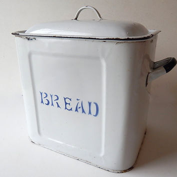 Vintage English Enameled  Bread Box  c. 1940-50