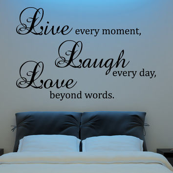 Live Laugh Love Wall Decal Vinyl Sticker Quote Art  by HappyWallz
