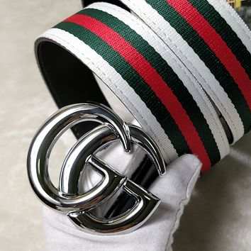 GUCCI street fashion men's and women's red, green and white striped canvas smooth buckle belt Silevr