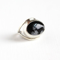 Vintage Sterling Silver Snowflake Obsidian Ring - Size 4 Oval Black & White Gem Cabochon Modernist Statement Jewelry