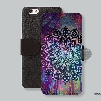 Galaxy mandala forest Leather Wallet cover iPhone 6 case iPhone 6 plus case, iPhone 5s case iPhone 5c case Galaxy s3 s4 s5 Note3 - C00065