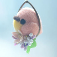 Soft sculpture wool bird jewelry, needle felt bird pendant necklace, pink bird on flower hoop pendant, whimsical jewelry, gift under 25