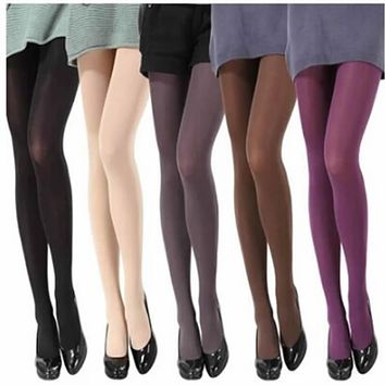 2017 Hot Women Sexy Pantyhose Autumn Winter Nylon Tights 120D Velvet Candy Color Stockings Step Foot Seamless Collant Female