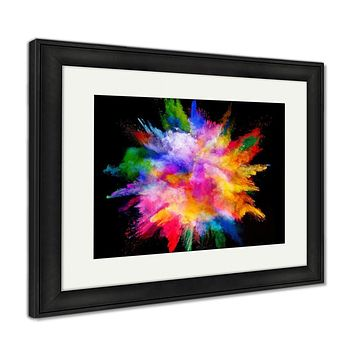 Framed Print, Explosion Of Colored Powder Isolated On Black Power And Art Concept Abstract