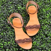 SZ 7.5 Georgina Brown Prepp Sandals