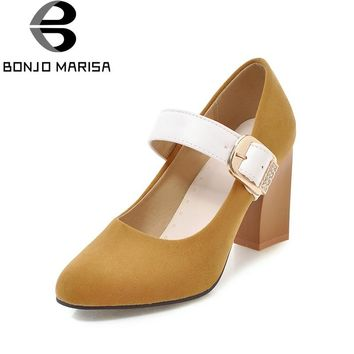 BONJOMARISA 2018 Large Size 31-48 Spring 6 Colors Mary Janes Pumps Shoes Women High Heels Date Office Lady Footwear