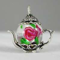 Pink and Green  Chinese Lampwork  Medium Silver Teapot Charm