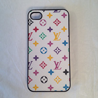 White LV custom iPhone case