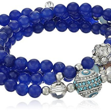 "Betsey Johnson ""Betsey's Delicates"" Pave Eye and Fireball Blue Bead Stretch Wrap Bracelet, 28"""