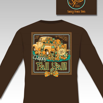 Sassy Frass Happy Fall Yall Pumpkin Truck Bow Long Sleeve Bright Girlie T Shirt