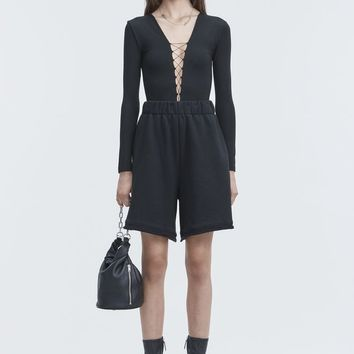 Alexander Wang LACE UP LONG SLEEVE BODYSUIT  TOP | Official Site