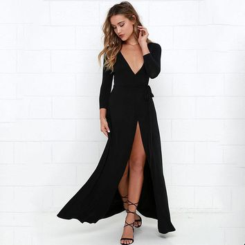 Sexy Deep V Neck Long Sleeve Slit Maxi Dresses