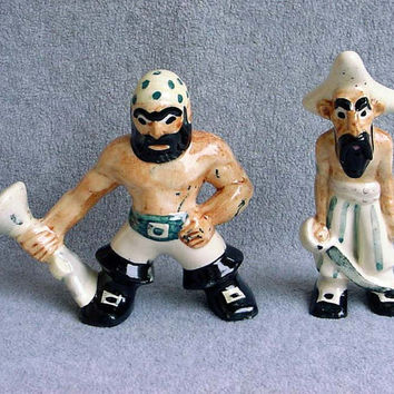 Brayton Laguna Pirate Figures California Pottery Designer Andy Anderson 2 Rare Figurines From The Pirate Series Turquoise Cream Brown Black