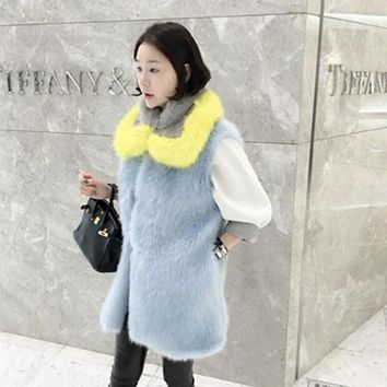 Stylish Long Hairy Shaggy Faux Fox Fur Vest With Contrast Collar 1 Set New Woman Faux Fur Sleeveless Jacket Waistcoat Outerwear