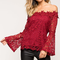 Connie Crochet Bell Sleeve Top