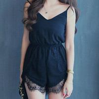 Black Lace Panel Spaghetti Strap Romper