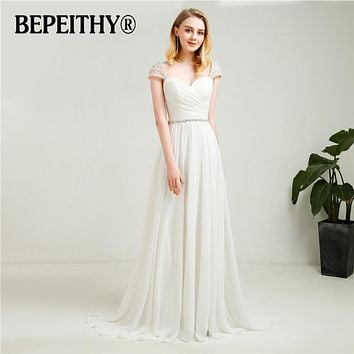 Vestidos De Novia Cap Sleeves Chiffon Wedding Dresses 2018 With Belt New Arrival Vintage Beach Bridal Dresses Hot Sale