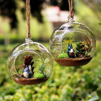 8pcs DIA 8CM hanging round glass air plant terrariums bubble crystal balls flower globe vase for wedding ceiling decorations
