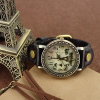 Retro Tower Vintage Style Leather Watch