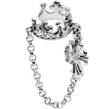 Clear Cubic Zirconia Crown and Cross Dangle Ear Cuff