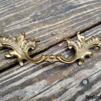 Gold Drawer Pulls | KBC Dresser Hardware | Brass Drawer Pulls | Vintage Drawer Pulls Decorative Drawer Pulls French Provincial Dresser Pulls