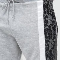 ASOS Skinny Jersey Short With Lace Cut & Sew at asos.com