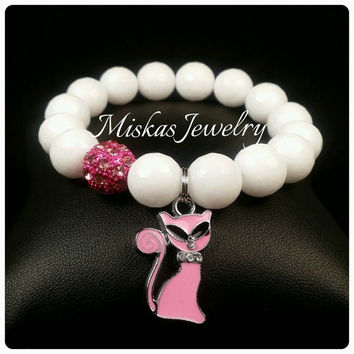 12mm White Beaded Bracelet with a Sassy Cat Charm and One Alloy Spacer Miskas Jewelry