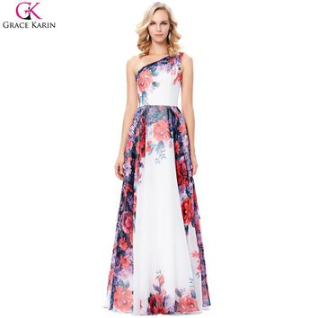 Women Dresses Long Formal Gowns Chiffon Flower Print Pattern Wedding Party Special Occasion Dresses