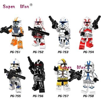 Star Wars Force Episode 1 2 3 4 5 20pcs  Yellow Green Lieutenant Red Clone Soldiers Stormtrooper trooper Army kit building blocks bricks classic baby toy AT_72_6