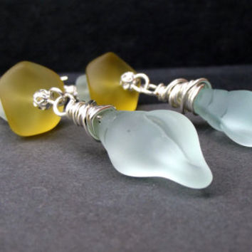Seashell Earrings:  Conch Shell Beach Holiday Earrings, Long Dangle Earrings, Aqua and Golden Yellow Sea Glass Drop Earrings, Christmas Gift