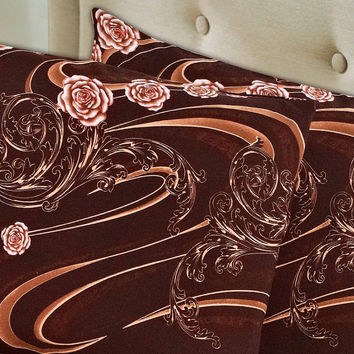 Tache 2 Piece Melted Gold Brown Floral Pillow Covers