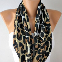 Leopard Scarf - Infinity Scarf Shawl Circle Scarf Loop Scarf Gift -fatwoman