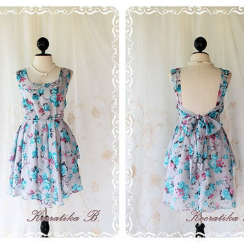 A Party Limited - Special For Spring Summer Cocktail Party Beach Sundress Deep Back Bow Tie Swing Skirt Sweet Romance Dress