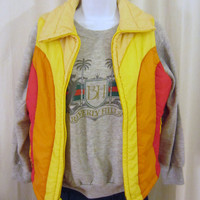 Vintage Amazing 70s PUFFY WINTER SKI Ladies Small Bright Colorful Classic Outdoors Outerwear Zip Stylish Hip Vest