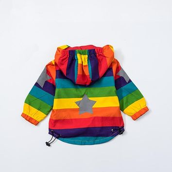 Baby Girl Jacket Boy Hooded Coat Sunscreen Clothes Rainbow Stripe Jacket Baby Boy Long Sleeves Spring And Autumn Kids Clothes 2Y