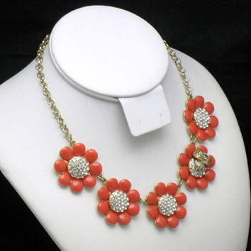 Vintage KATE SPADE Enamel Rhinestone Flower Bumble Bee Necklace