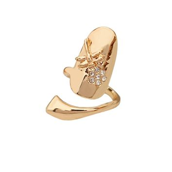 Dragonfly Flower Shaped Finger Tip Nail Ring