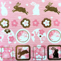 Rabbit Stickers - Japanese Washi Paper Stickers - Chiyogami Flower Stickers - Cherry Blossom stickers -  (S123)