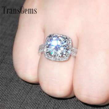 Transgems 5 Carat ct Engagement Wedding Moissanite Diamond Ring With Lab Diamond Accents Genuine 14K 585 White Gold