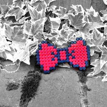 Red Hama Bead Bow Necklace, Sweet Lolita Necklace, Kawaii Bow Necklace, Pastel Goth Necklace - Red Hama Bead and Silver Chain