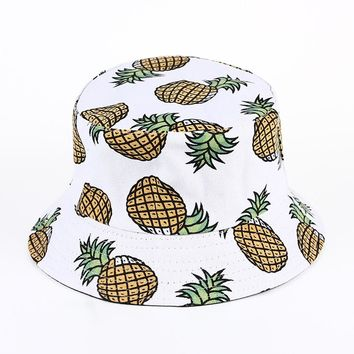 VORON new Pineapple Printed Bucket Hats For Women Girls Men 2015 New Fashion Lovely Summer Casual Cotton Fitted Hats