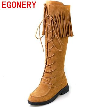 EGONERY shoes 2017 australia boots women's winter snow boots knee high zip boots popular tassels genuine leather boots women