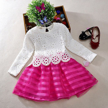 Girls Baby Toddler Kid's Pageant Princess Party Wedding Tulle Lace Dresses 3T-8T