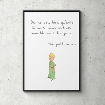Le Petit Prince Poster, The Little Prince, Digital Print, Scandinavian, Illustration, Typography Art, Wall Decor, Gift Idea, Home Decor