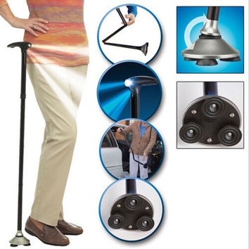 Free Shipping New Ultra-light Folding Cane with Built-In Lights 4 Joint Crutch Safety Walking Stick For Old People T-handle Cane