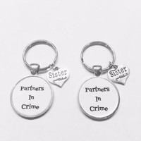2 Keychains Partners In Crime Sister Sisters Gift Set
