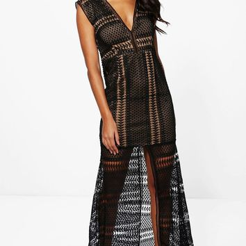 Boutique Anna Corded Lace Panelled Maxi Dress | Boohoo