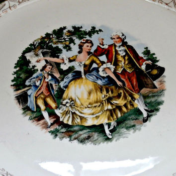 Vintage everbrite 22 karat gold edwardian white green decorative dinner plates with a ballroom dancing scene retro antique serving plate