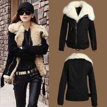 DCCKIX3 Women's NEW Warm Fur Winter Coat Lush Black Outerwear Jacket Parka = 1930499076